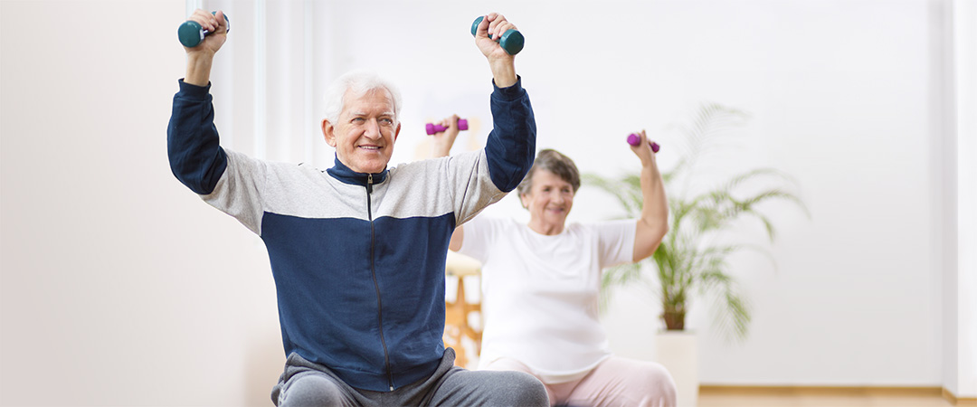 rehab gym residents with weights