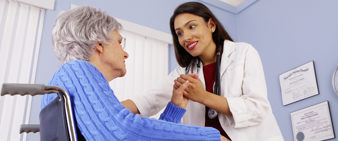 Nurse with a hospice resident