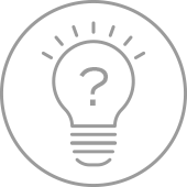 icon of shining lightbulb with question mark