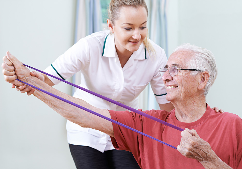 Physical Therapy therapist with a resident